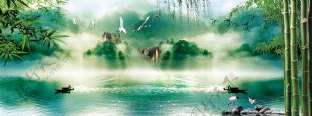 中式山水国画风景背景墙图片