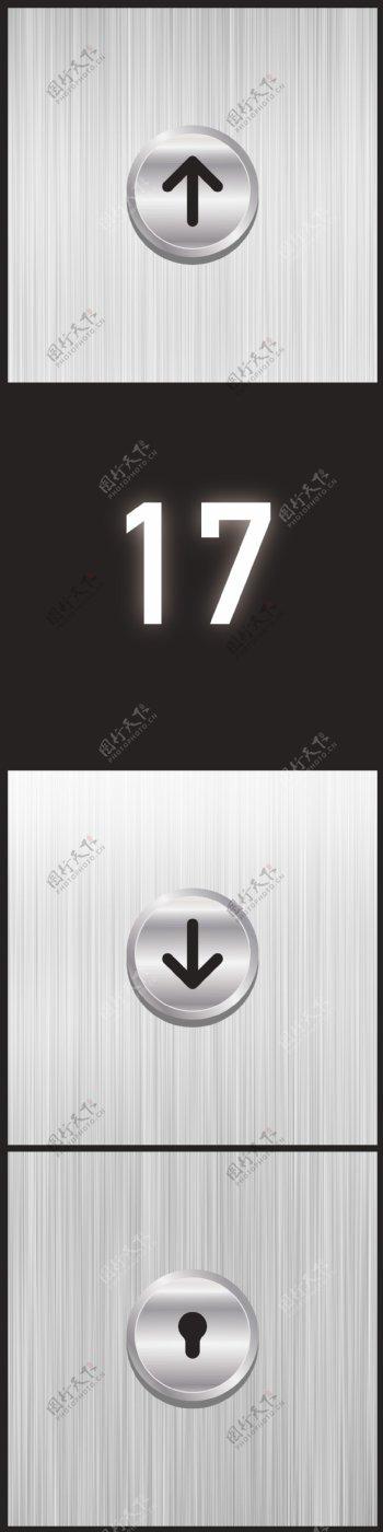电梯电梯贴电梯按钮UI图片