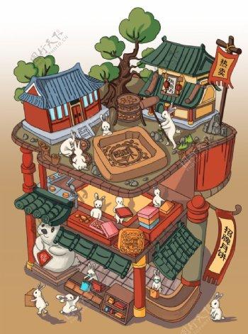 中秋月饼工厂插画图片