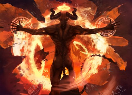 烈火恶魔游戏人物背景海报素材图片