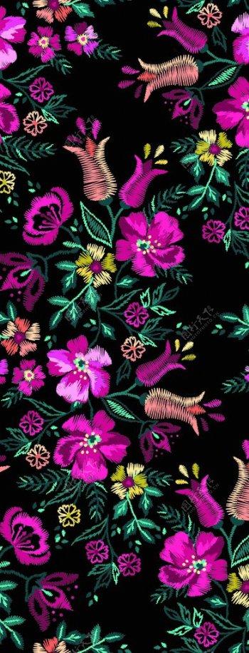 手绘绣花图片