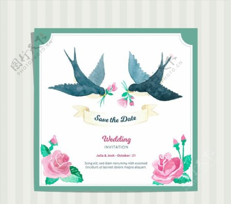 燕子婚礼邀请卡图片