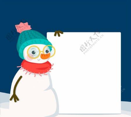 扶空白纸板的雪人图片