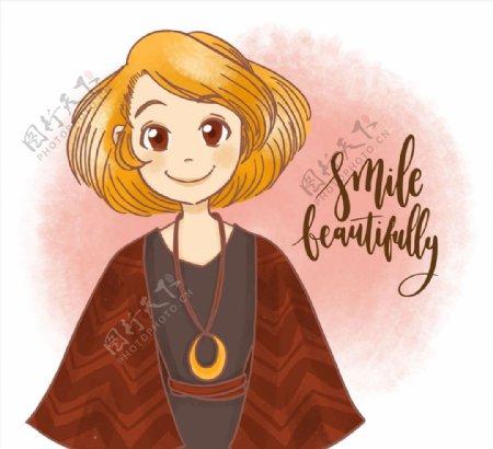 笑脸短发女孩图片