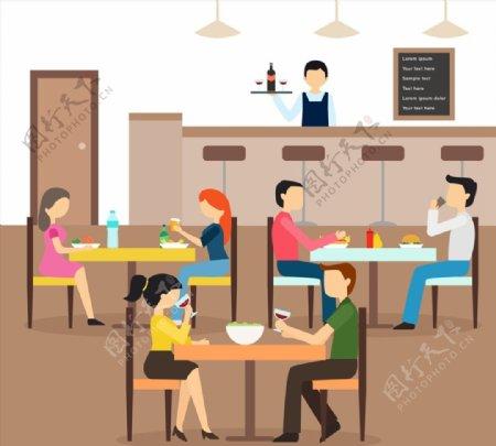 餐馆里用餐人物图片