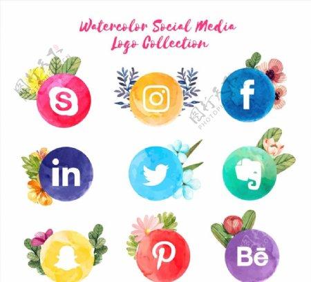 水彩绘社交媒体标志图片