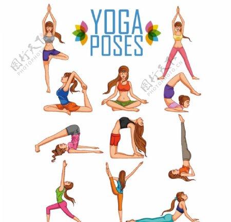 女士瑜伽动作插图图片
