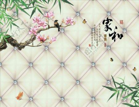 花鸟画玉兰竹子背景墙图片