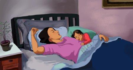 母亲和孩子睡觉图片