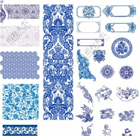 青花瓷矢量文件底纹边框图片