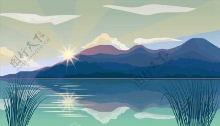 江水山风景矢量图片