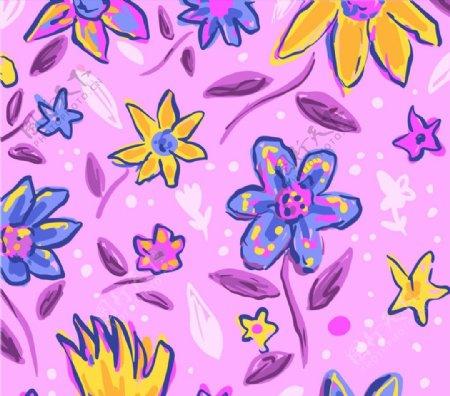 手绘花卉无缝背景图片