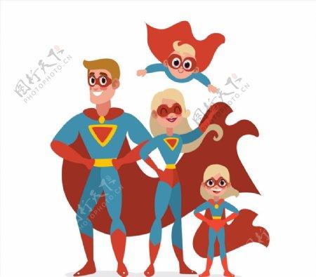 卡通超人四口之家图片