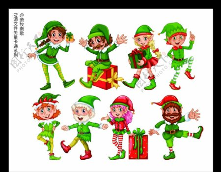 圣诞人物卡通矢量AI源文件图片