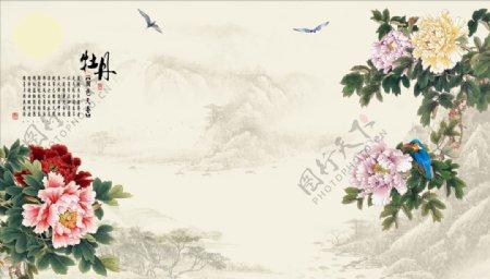 花鸟画牡丹翠鸟鹤背景墙图片