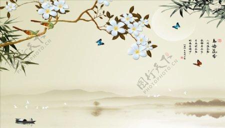 花鸟画小船竹子背景墙图片