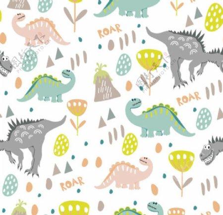 卡通恐龙印花海报矢量图片