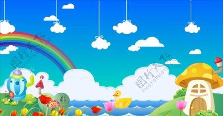 蘑菇彩虹白云背景视频