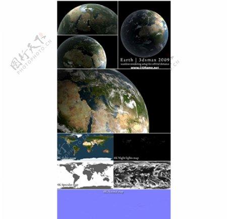 3DsMax超高清晰度地球模图片