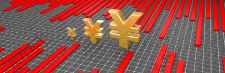 人民币符号与折线图片