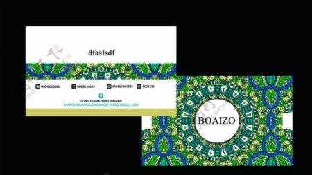 绿色花纹欧式复古名片卡片素材图片