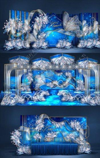 蓝色星空系婚礼图片