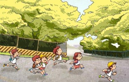 放学儿童开心插画卡通背景素材图片