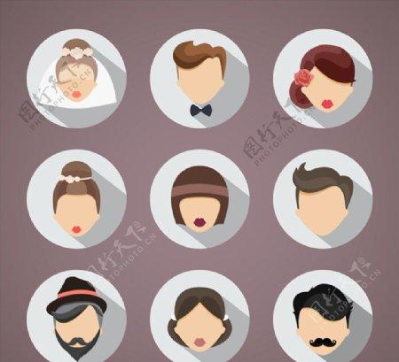 婚礼人物头像矢量图片