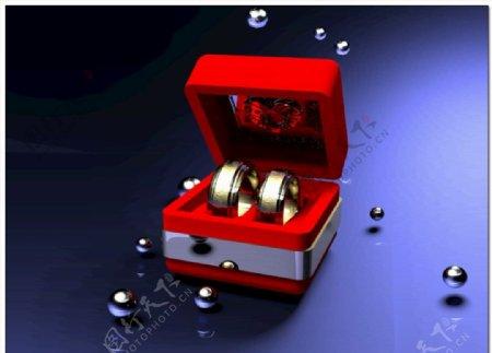 婚庆素材打开戒指盒子