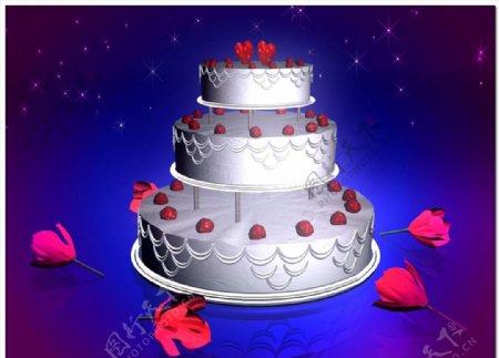 旋转生日蛋糕婚礼蛋糕视频