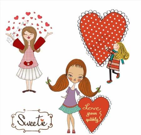卡通女孩与爱心图片