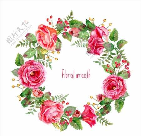 水彩花卉圆环图片