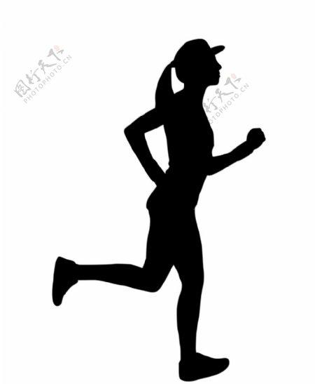 跑步女孩剪影图片