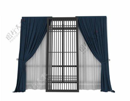 高档窗帘3d模型图片