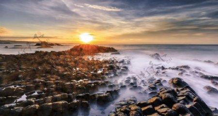 海边日落黄昏旅游背景海报素材图片