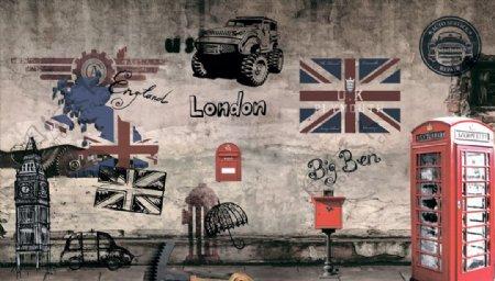 车子火车工业时代工装背景墙图片