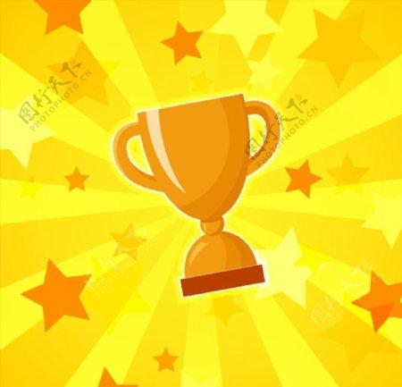 金质奖杯矢量图片