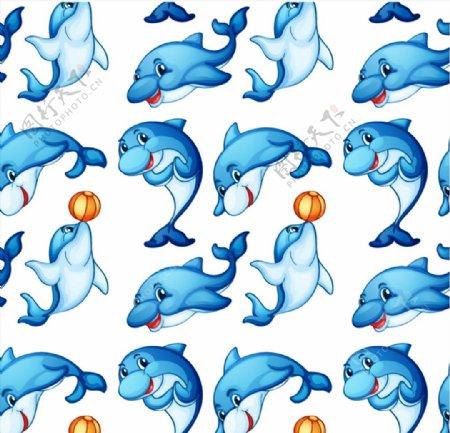 海豚无缝背景图片