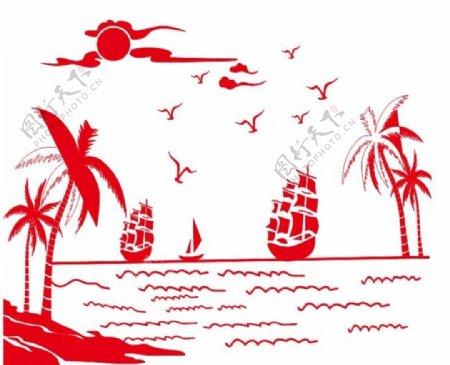 矢量沙滩帆船图片