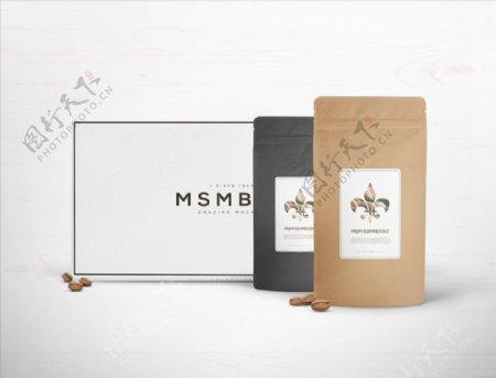 样机咖啡牛皮纸包装图片