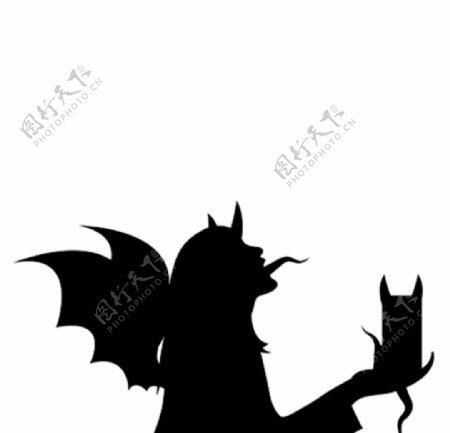 恶魔与猫剪影图片