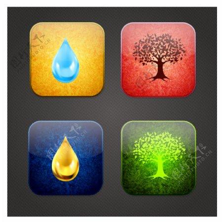 水滴大树图标图片