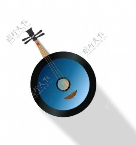 中国风乐器扁平风插画图片