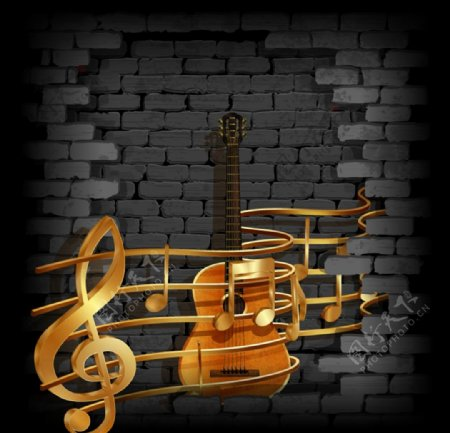 金色音符和吉他图片