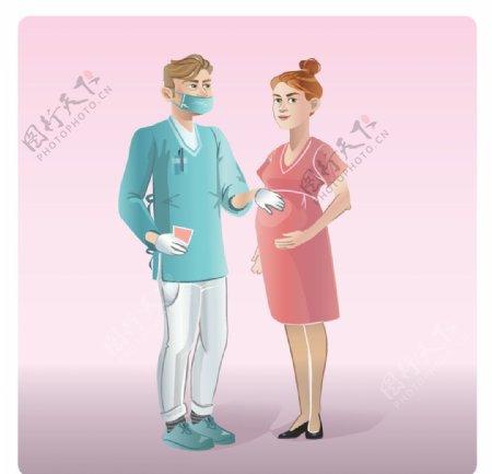 卡通医生和孕妇图片