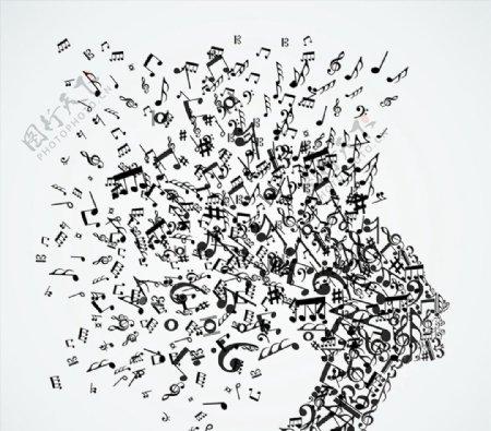 音符五线谱矢量图片