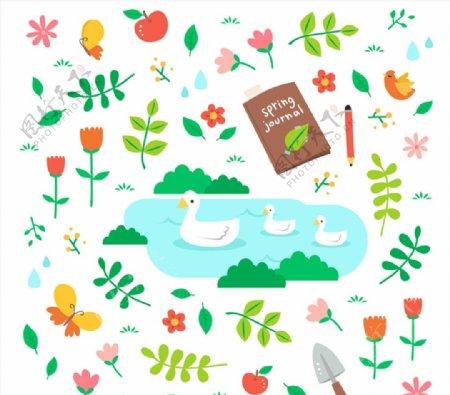 春天动物和花草图片