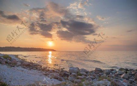 日落海上爱沙尼亚欧洲图片