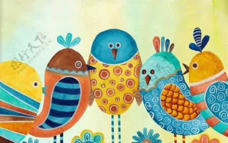 抽象小鸟插画图片