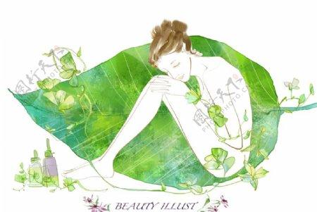 树叶上的女人插画图片